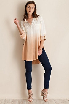 Smazy by Inance Ombre Button Down Tunic Top in Blush or Mint