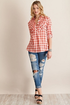 Smazy by Inance Plaid Button Down Rolled Sleeve Top