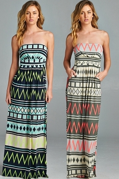 Inance Sleeveless Detail Pocket Print Maxi Dress