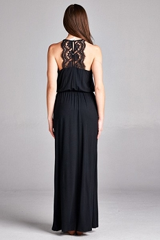 Inance Lace Button Detail Maxi Black Dress