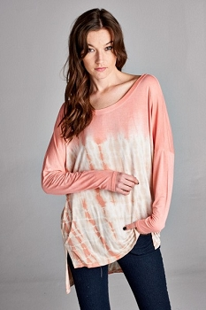 Inance My Couch Is Calling Tie-Dye Tunic Top - Peachy Keen / Tide's Out Blue - Made In The USA