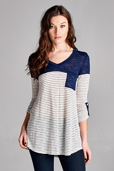 Inance Knit Relaxed to the Max Striped Top  Liberty Blue - Made In The USA