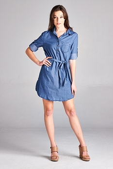Inance Light Denim Belted Tunic Dress