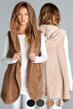 Inance Faux Fur Hoodie Vest with Pockets