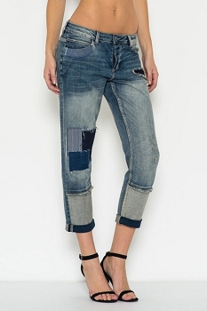 Inance Crop Patch Boyfriend Denim Jeans
