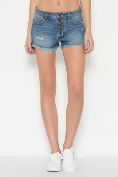 Inance Raw Hemline Denim Shorts