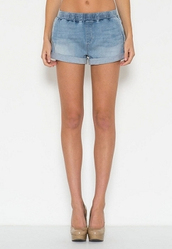 Inance Light Denim Hemed Mini Shorts