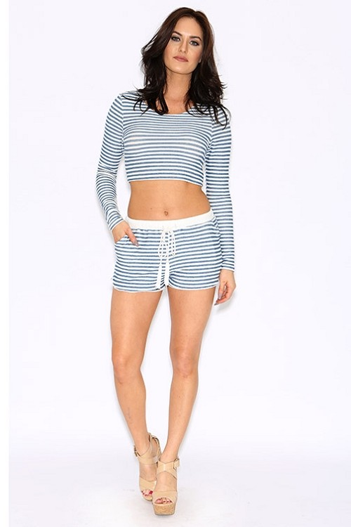 Inance French Terry Drawstring Striped Shorts - Made IN Los Angeles