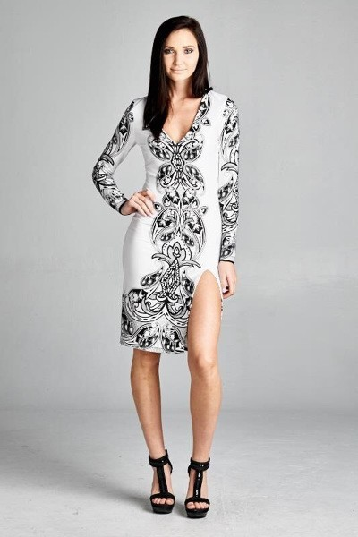 Inance White Black Print Dress