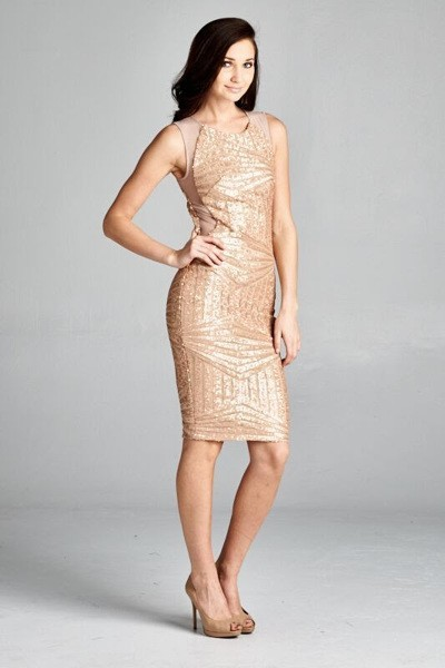 Inance Gold Sequined Cocktail Dress