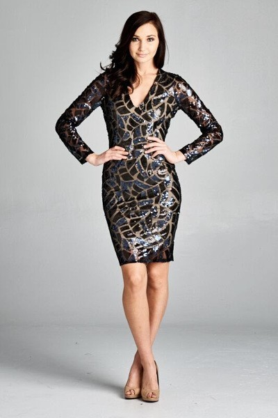 Inance Black Sequined V Neck Long Sleeve Dress