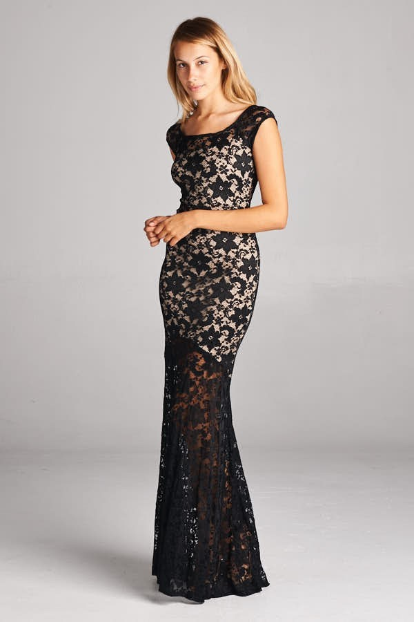 Inance Long Lace Sleeveless Gown - 2 Color Choices