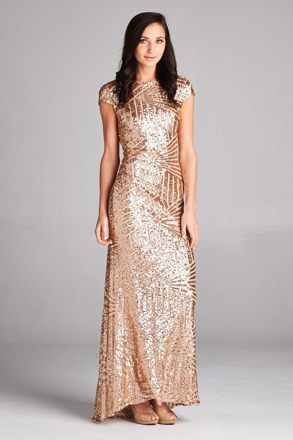 Inance Sequined Gown,  Black or Gold Sequined, Made In The USA
