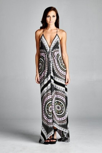 Inance Drape Print Maxi Dress - Made In The USA