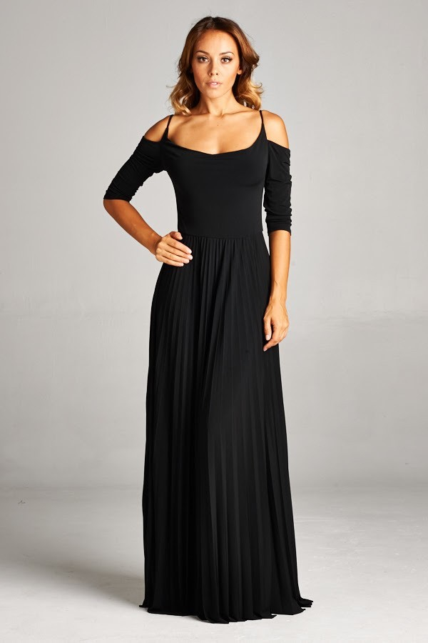 Inance Open Cold Shoulder Long Black Gown