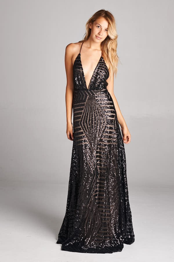 Inance Sleeveless V Neck Sequined Long Gown - Comes in 2 Colors