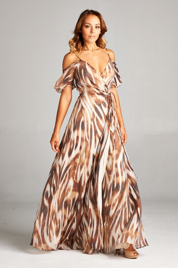 Inance Cold Shoulder Brushed Leopard Maxi Dress