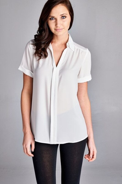 Inance Polished Perfection Boardroom Blouse White / Arctic Blue - Made in The USA