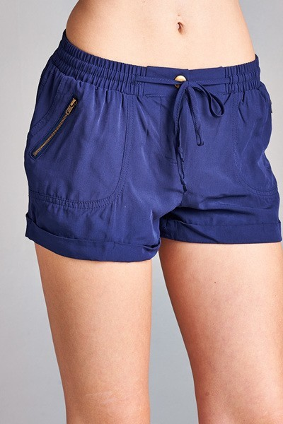 Inance Woven Mini Shorts with Drawstring, Made IN USA