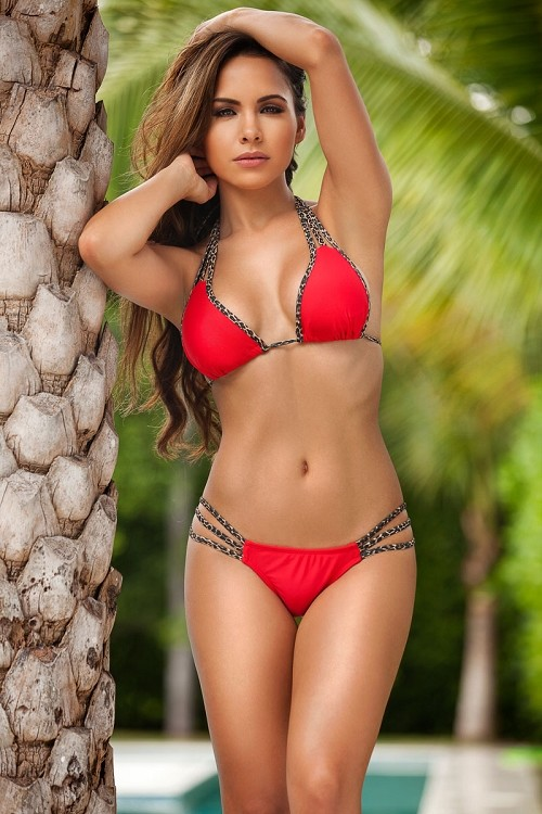 Inance Red Cheetah Scrunch Butt Halter Bikini