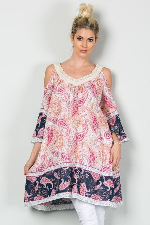 Inance Paisley Primadonna Tunic Dress-  2 Color Choices - Made In The USA