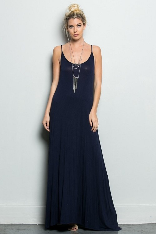 Inance Watch Me Glide Backless Maxi Dress - Midnight Blue or Basic Black- Made In The USA