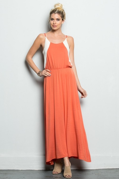 Inance Big Time Crush Maxi Dress - Apricot Dream or Narcissistic Navy - Made In The USA