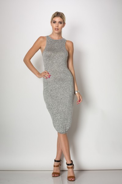 Inance Gym Bunny Bodycon Dress - Grey Marl - Made In The USA