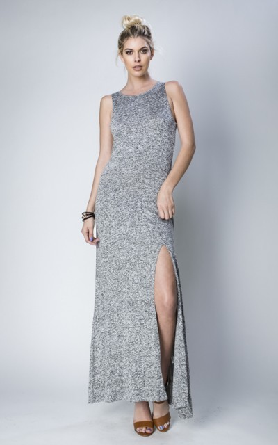 Inance Legs Up to Her Neck Maxi Dress - Heather Gray - Made In The USA