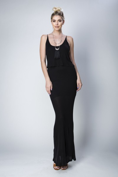 Inance Unstoppable Woman Maxi Dress - Dramatic Black- Made In The USA