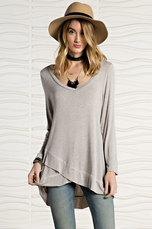 Artfully Disheveled Top - Flawless Gray - Made In The USA