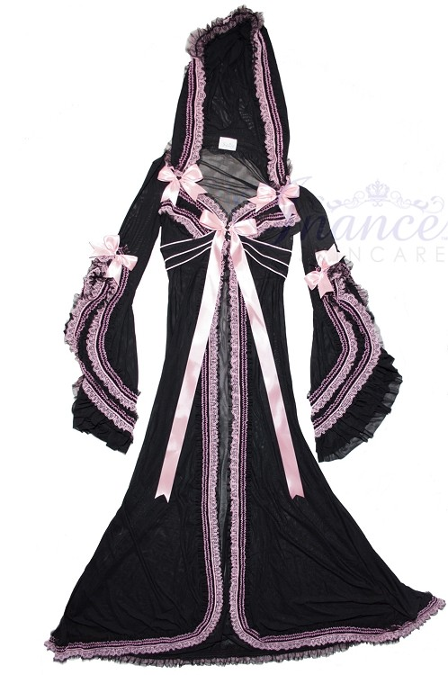 Inance Palm Beach Fancy Long Hooded Robe - Black/Light Pink