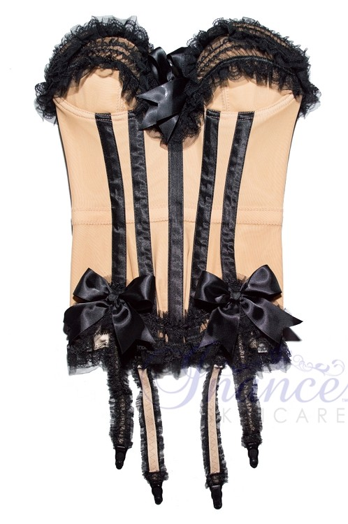 Inance Palm Beach Stretch Corset - Light Blue with Pink Bows
