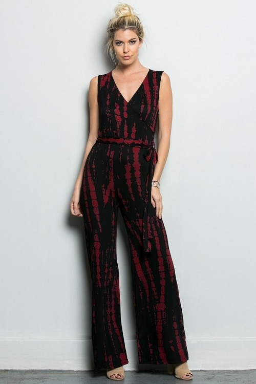 Inance Boho Express Jumpsuit - Red Seduction Tie Dye - Made In The USA
