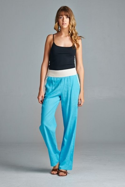 Inance Linen Find Your Own Sweet Way Pants - Blissful Azure - Made In The USA
