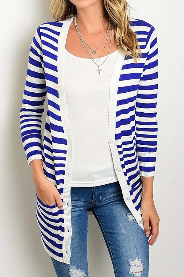 Smazy by Inance Button UP Striped Cardigan Sweater - 2 Color Choices