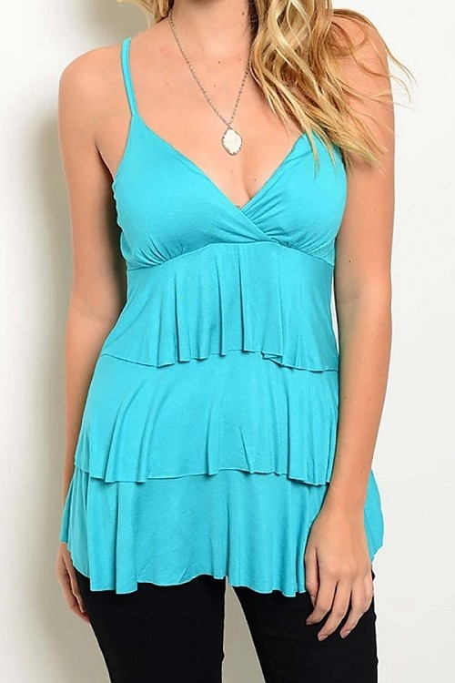 Smazy by Inance Layered Ruffle Sleeveless Top - Comes in 3 Color Choices