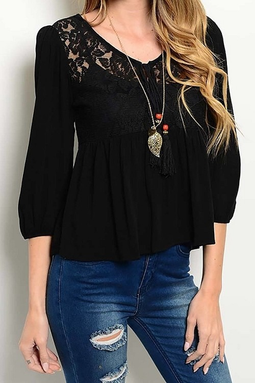 Smazy by Inance Lace Trim Loose Fit Top - 2 Color Choices