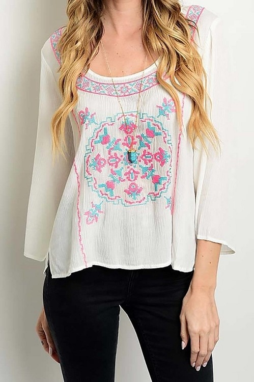 Smazy by Inance Loose Fit Embroidered Top