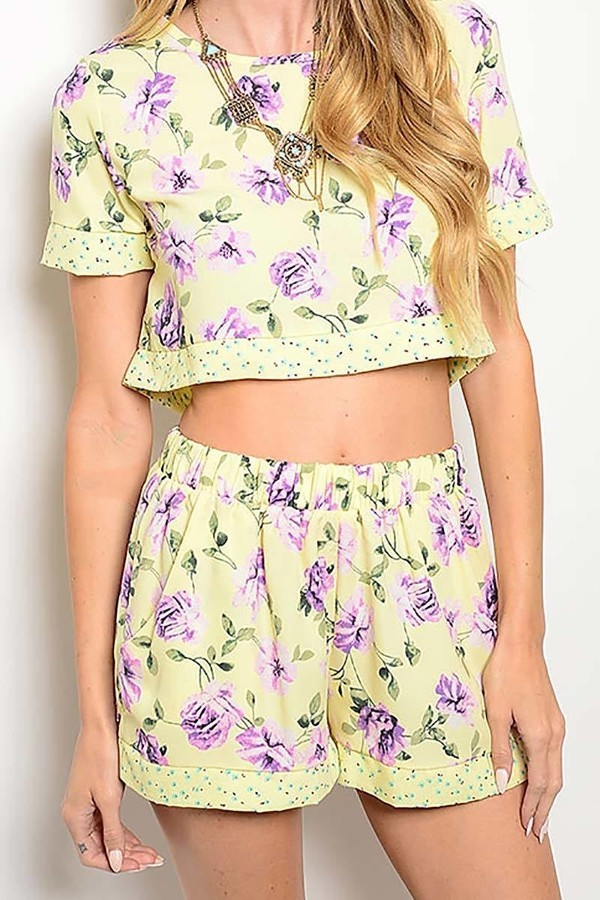 Smazy by Inance Crop Top Floral Print 2 Piece Short Set
