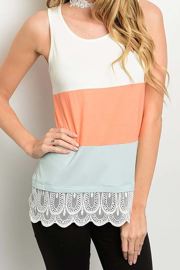Smazy by Inance Lace Trim Color Block Top
