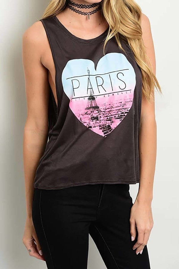 Smazy by Inance  Sleeveless Paris City Of Romance T-Shirt - 2 Color Choices