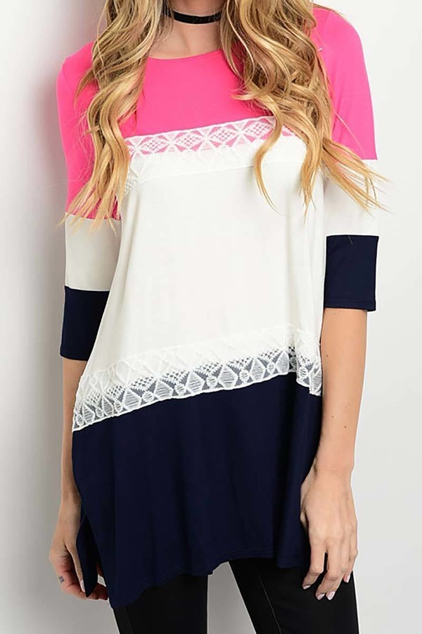 Smazy by Inance Loose Fit Color Block Tunic Top