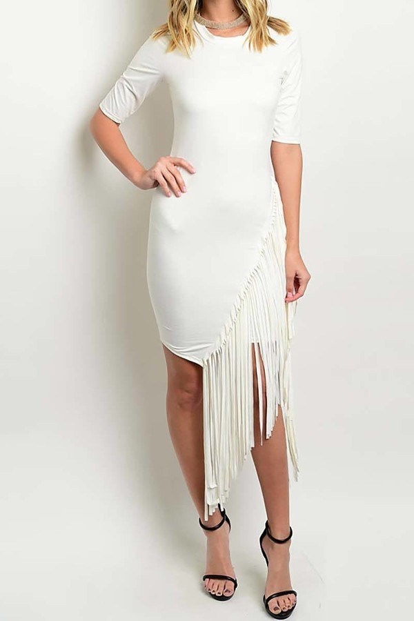 Smazy by Inance  Fringe Trim Bodycon Dress