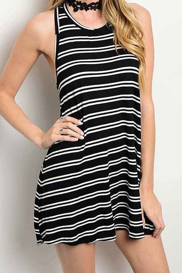 Smazy by Inance Striped Loose Fit Sleeveless Dress