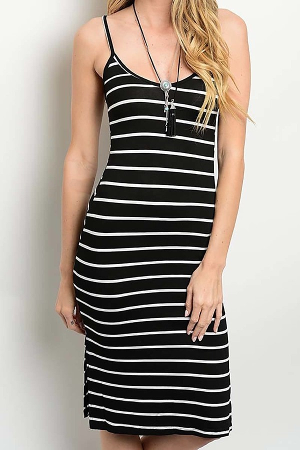 Smazy by Inance Striped Spaghetti Strap Comfort Dress - 2 Color Choices