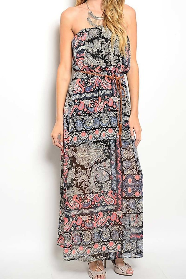 Smazy by Inance Chiffon Paisley Print Dress - 2 Color Print Choices