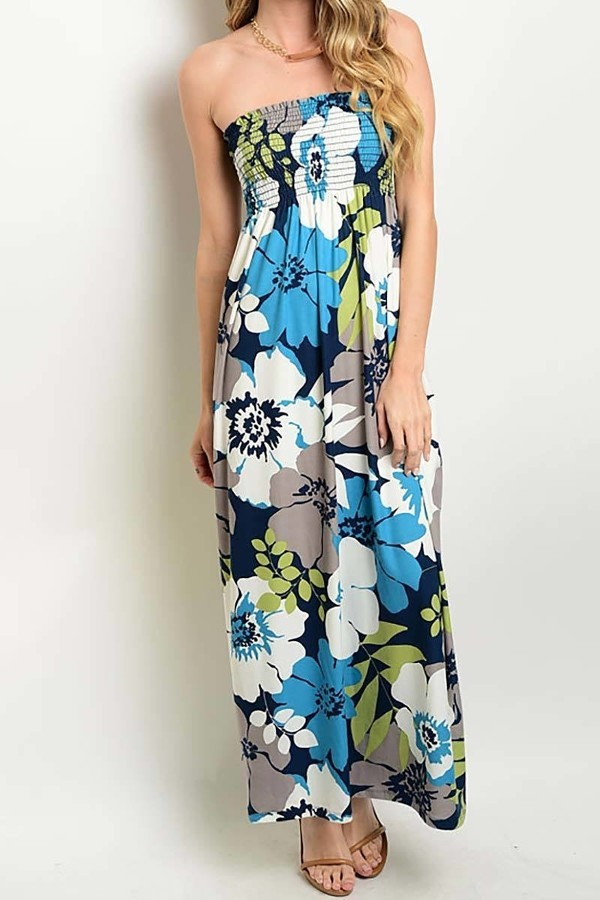 Smazy by Inance Strapless Floral Print Maxi Dress