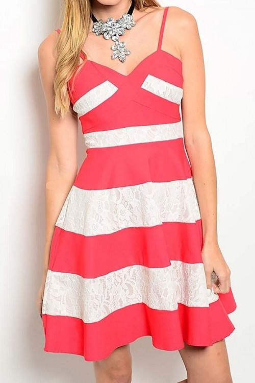 Smazy by Inance Bold Stripe Lace Dress, New