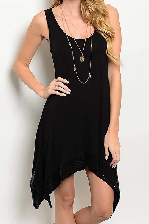 Smazy by Inance Sequin Trim Sleeveless Dress